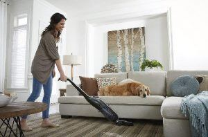 Hoover Lynx Vacuming next to dog
