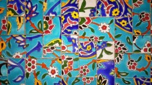 Colorful blue and red patterned tile wall