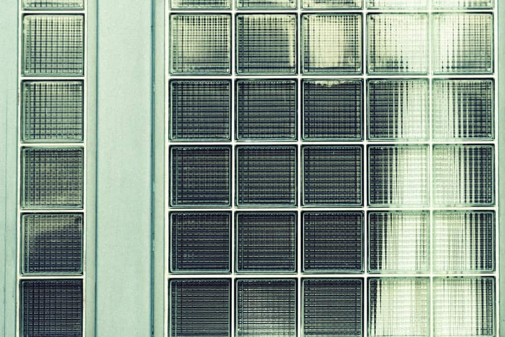 Glass windows made up of square glass tile