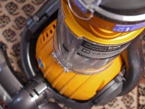 Yellow Dyson Ball Upright Vacuum close-up