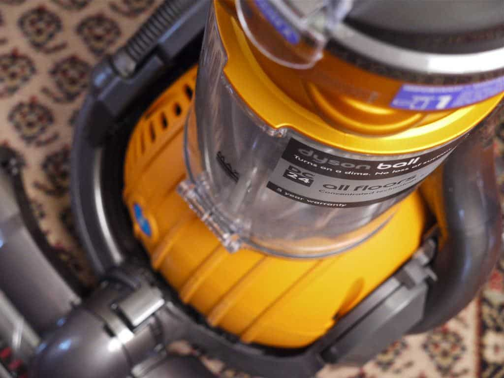 Yellow Dyson Ball Upright Vacuum close-up