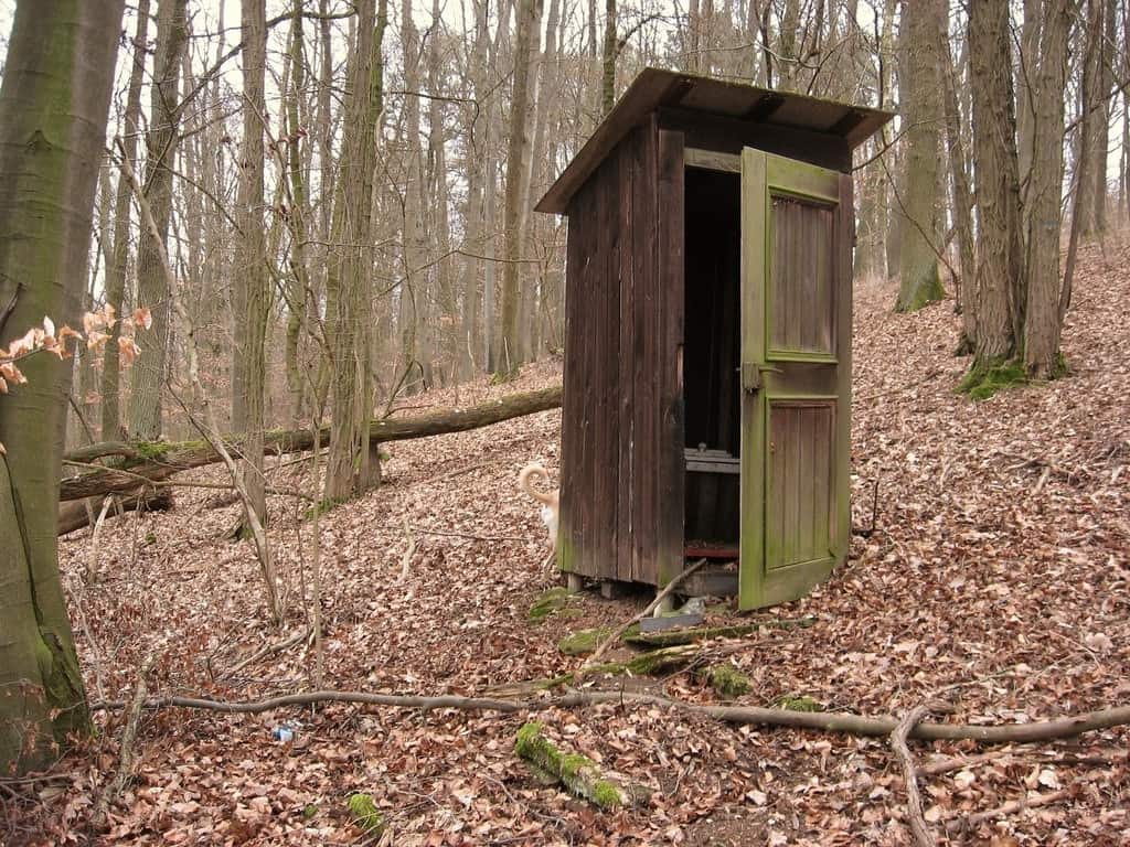 Separate housing for toilet in the woods