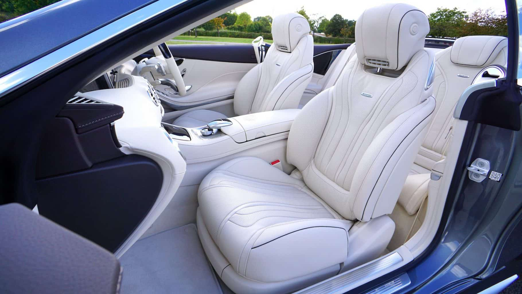White car leather seats