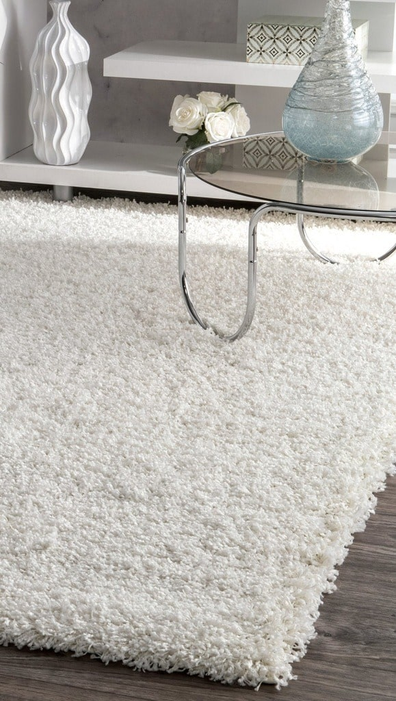 White wool shag carpet