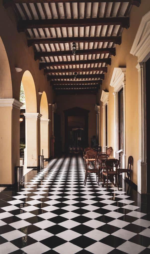 Black and white checkered tile floor