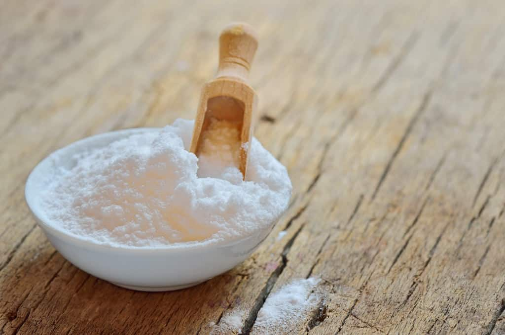 Baking soda in a white bowl
