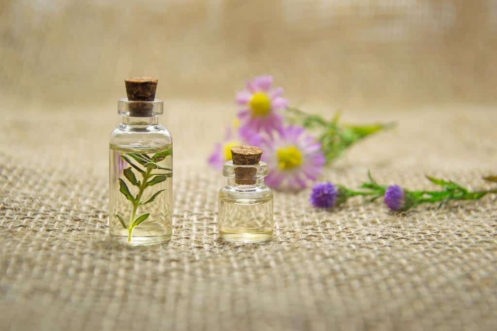 Small bottle and flowers of essential oils