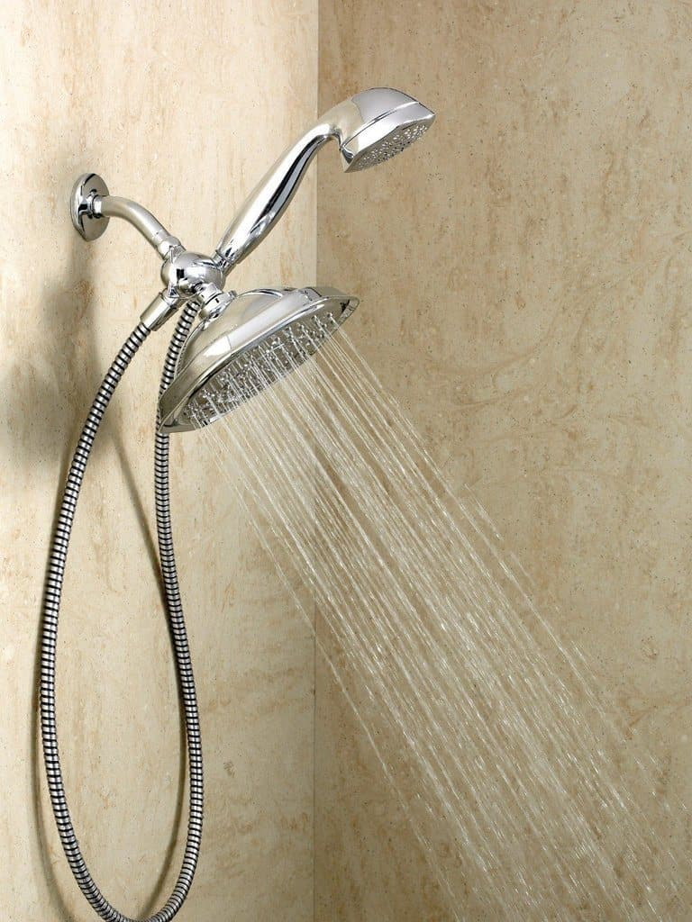A running dual shower head