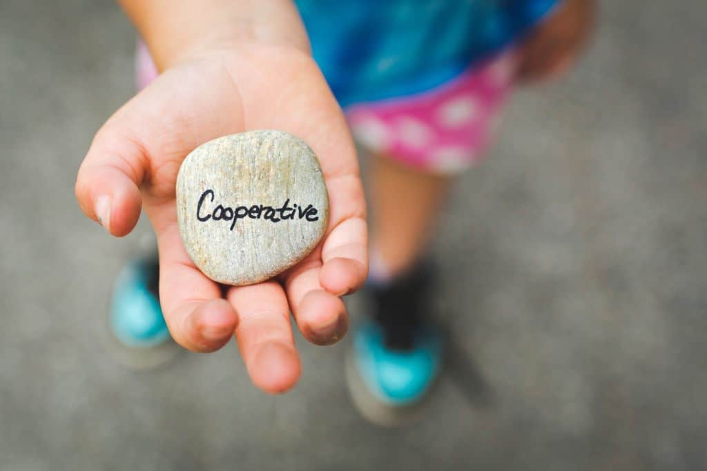 "Young girl holds a rock tht says ""Cooperative"""