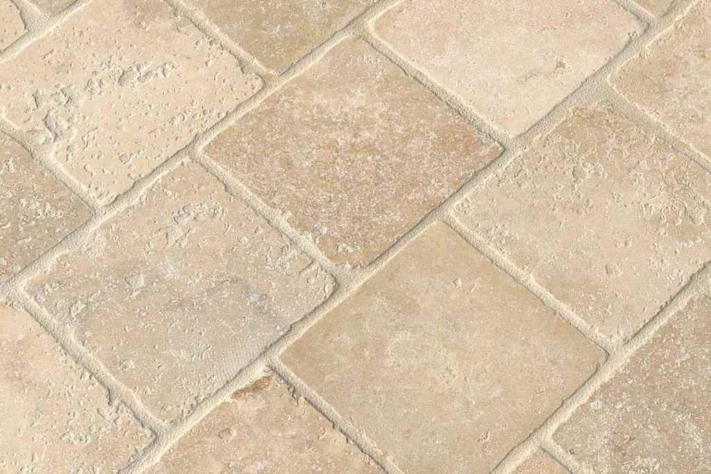 Close up of travertine tiles