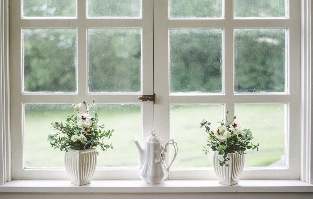Bright white windows with some planters
