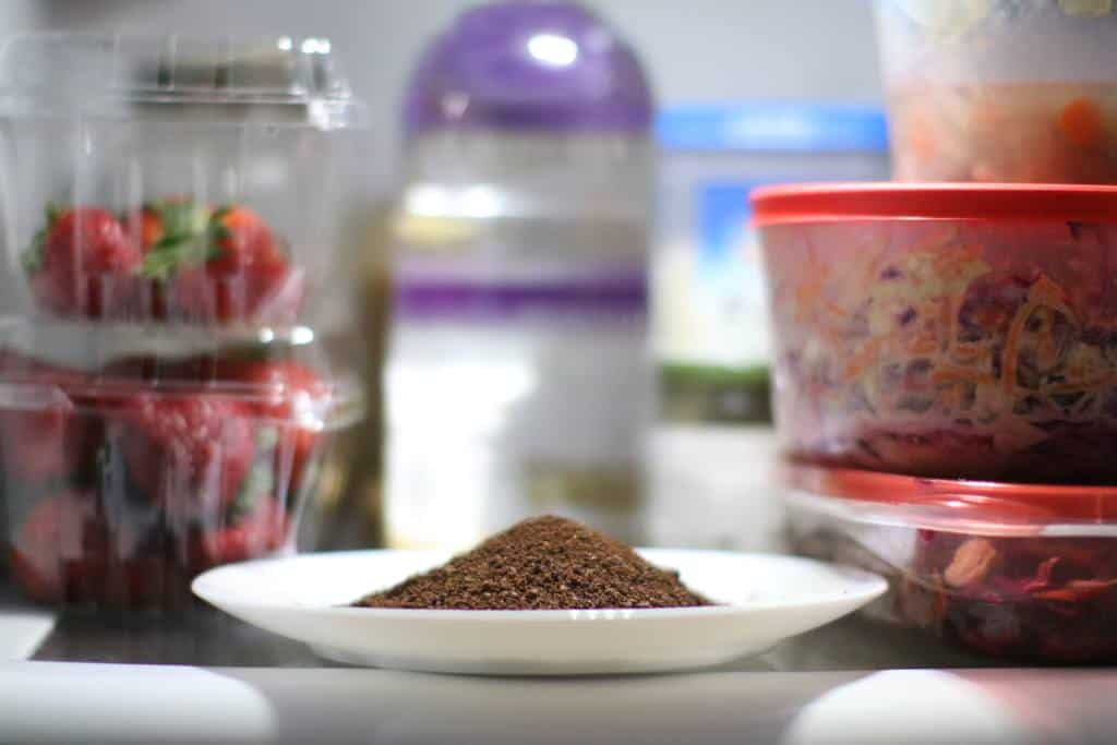 A plate of ground coffee