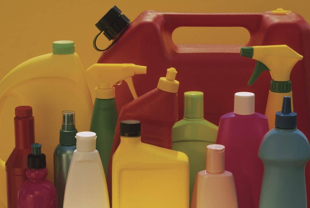 Various kinds of cleaning supplies for mopping wood floors