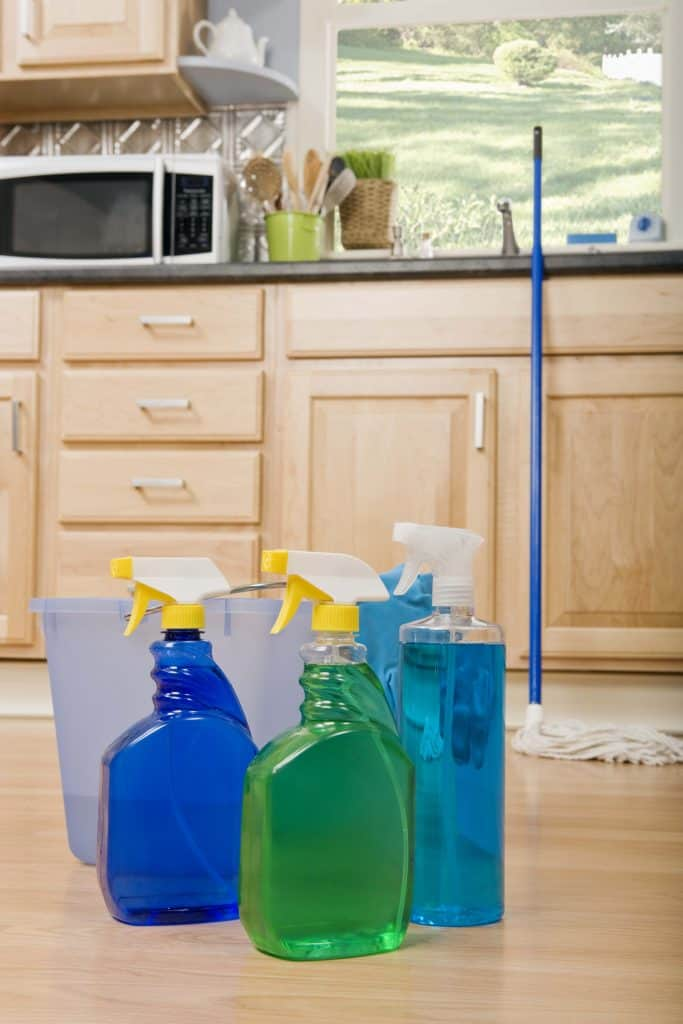 Cleaning supplies for mopping wood floors