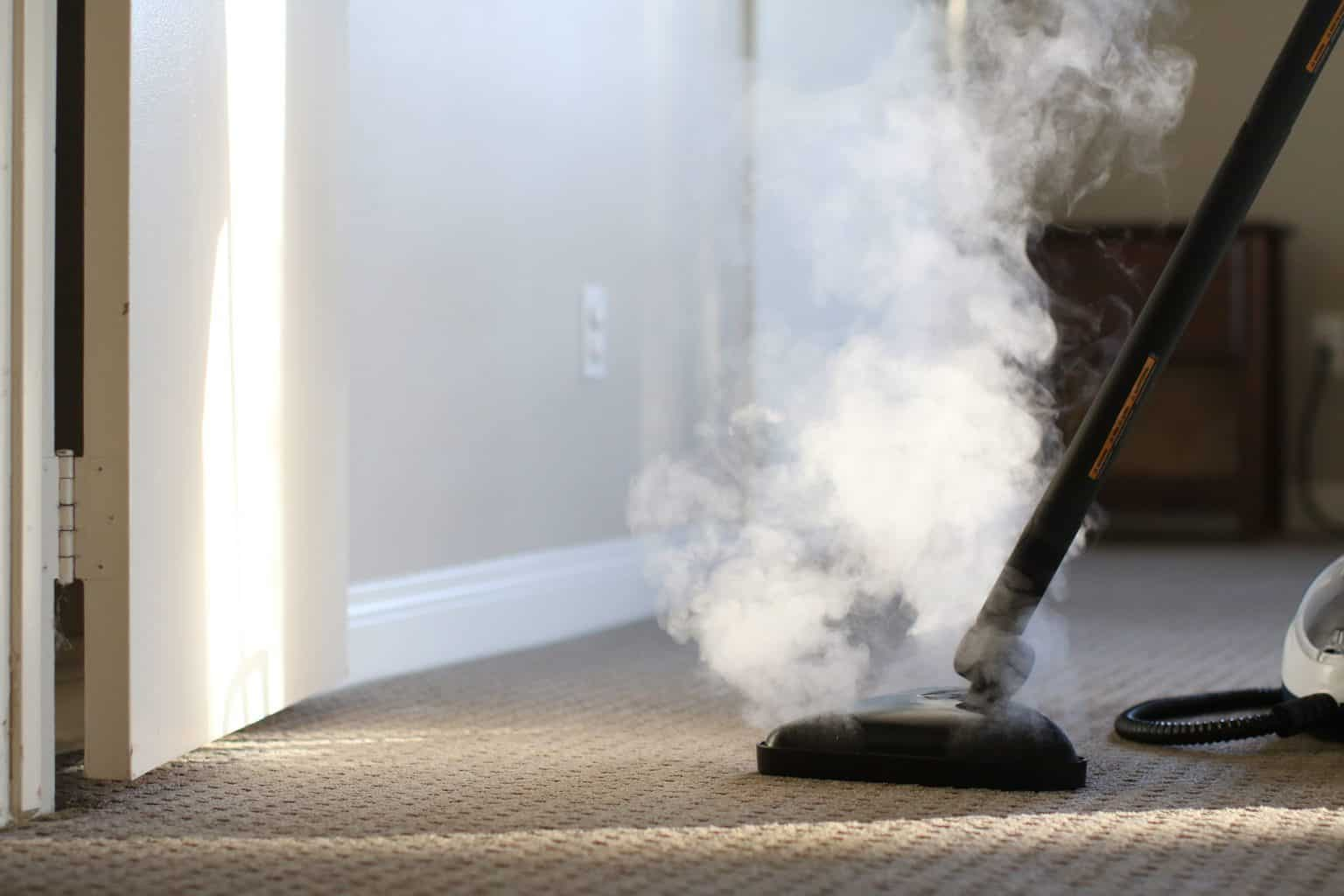 Commercial steam cleaner being used to clean the carpet