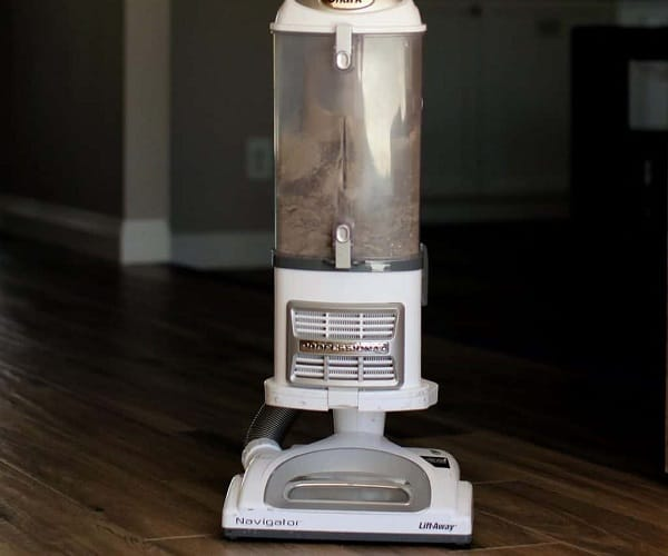 Dust collected with a corded stick vacuum