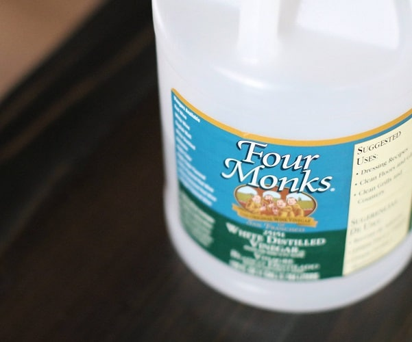 A gallon of vinegar for carpet cleaning