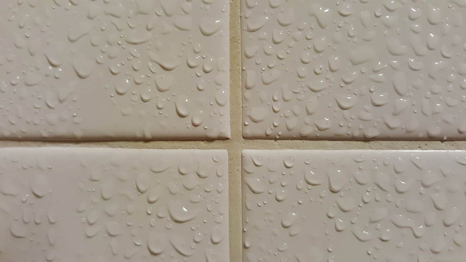 Wet shower tiles fixed with grout solution