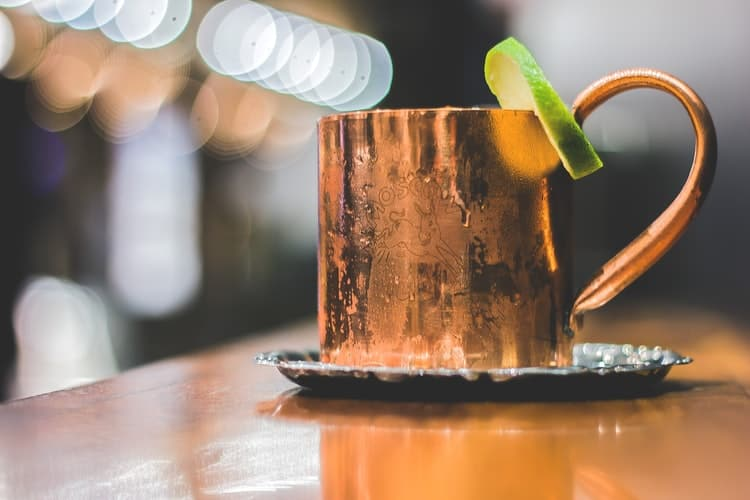 Copper mug with a cocktail