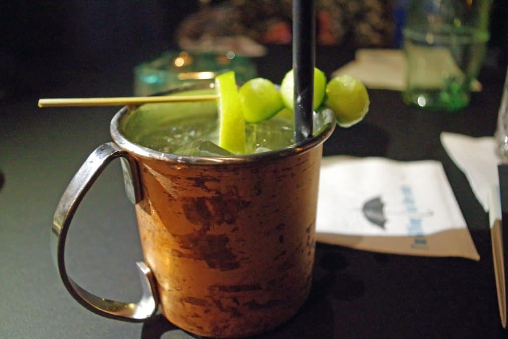 Copper mug with cocktail