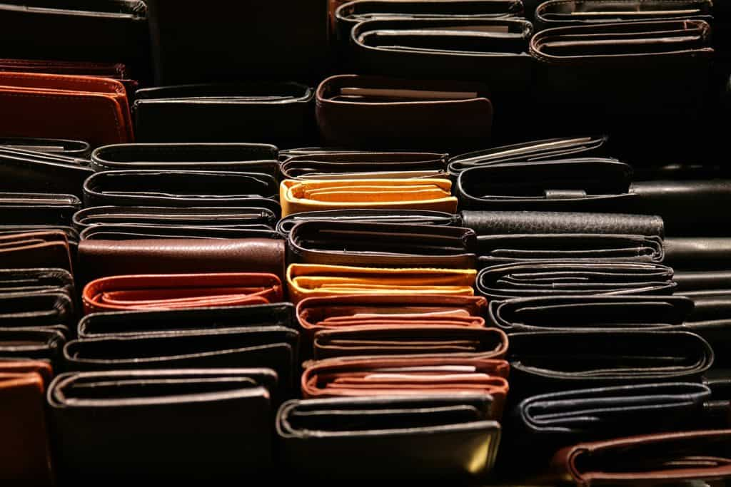 Rows full of various leather wallets