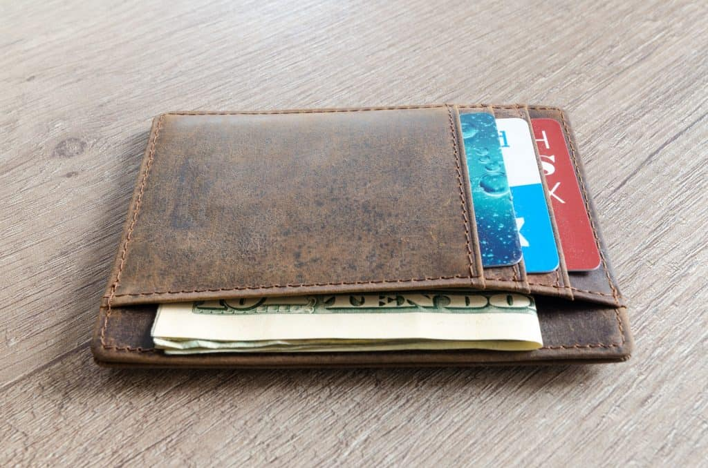 a dirty leather wallet