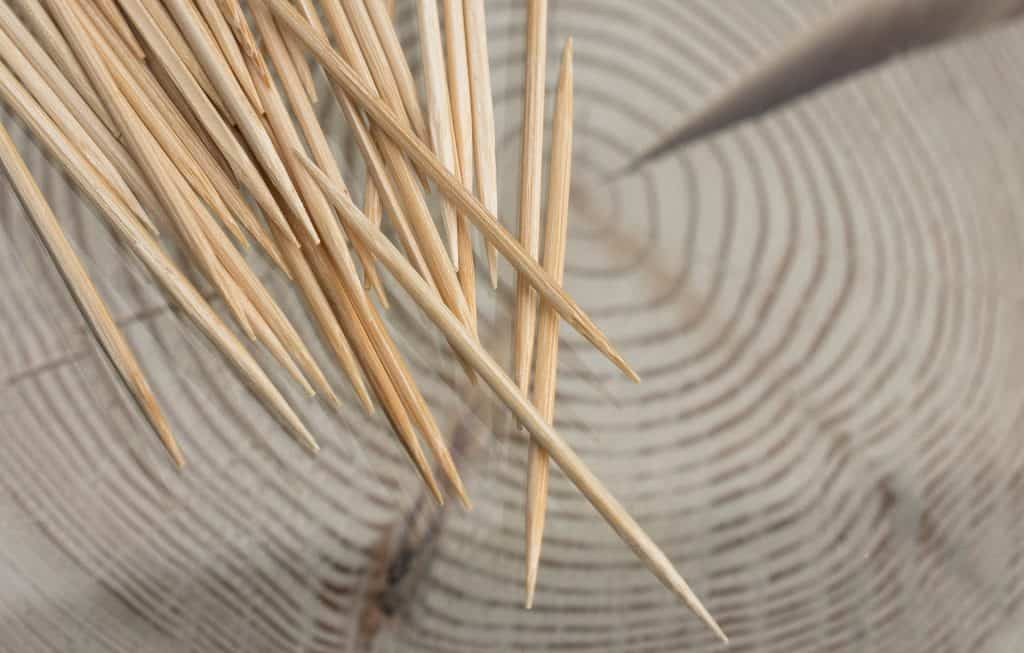 Close up of wooden toothpicks