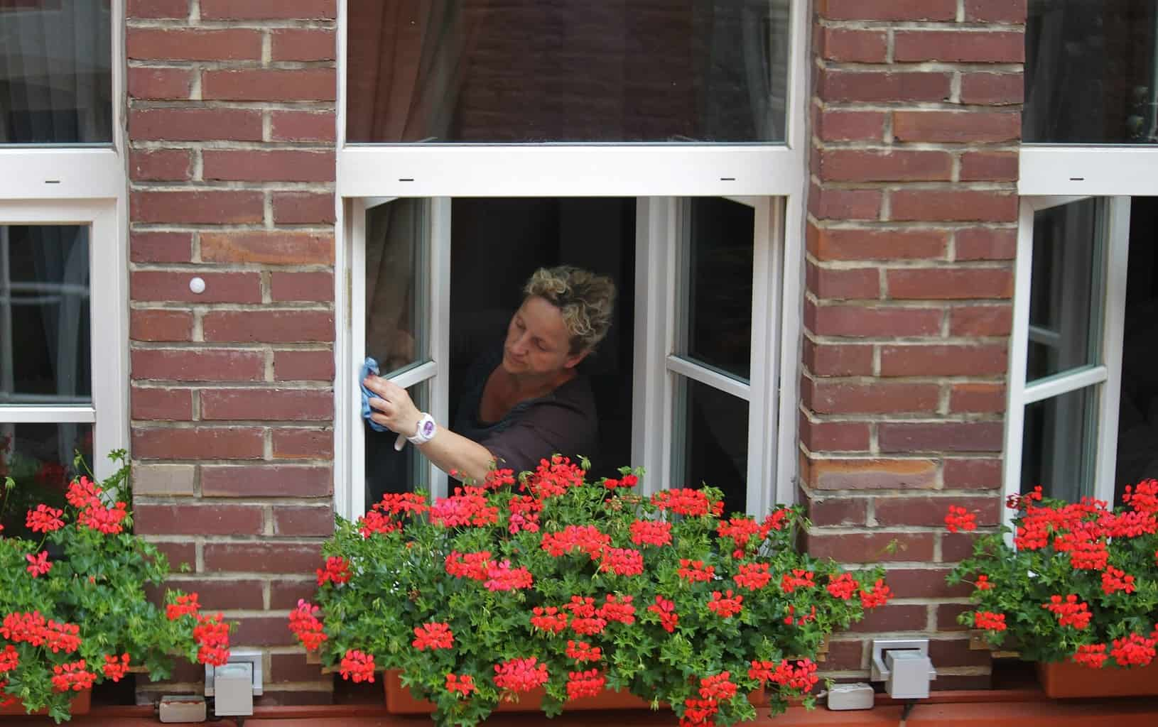 Woman trying to clean outside windows she can't reach