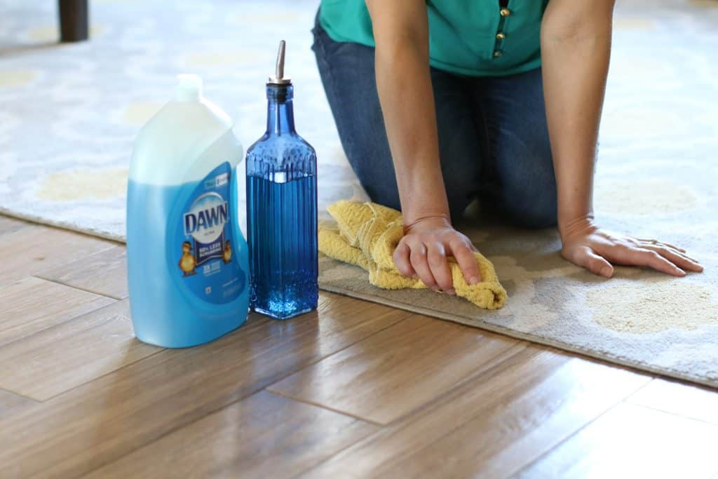 Woman using cleaning products to clean area rug on flooring