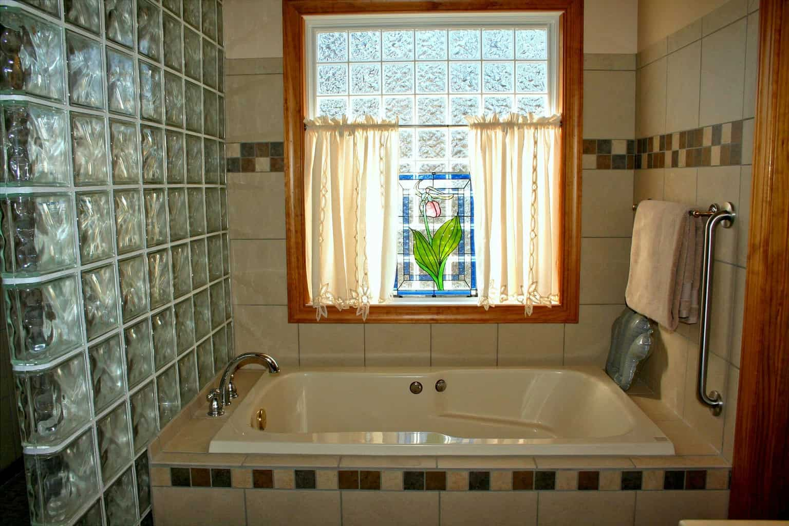 Stained glass windows on a bathroom