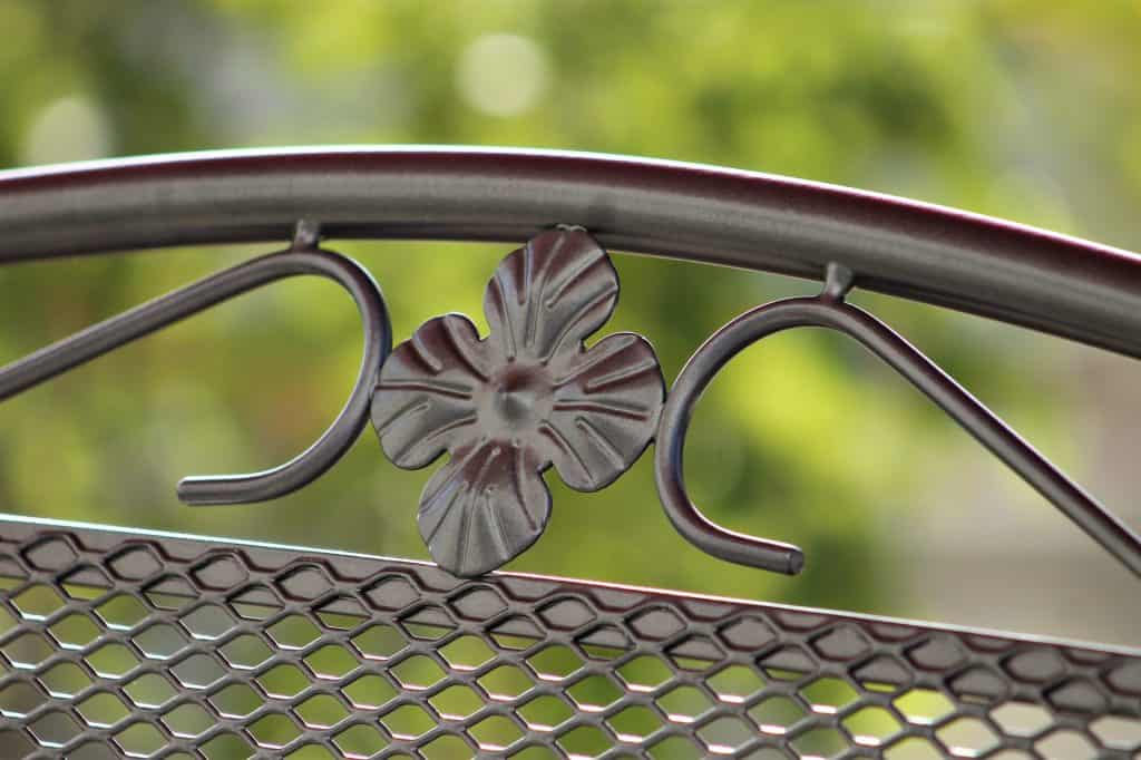 Close up of a clean wrought iron patio furniture