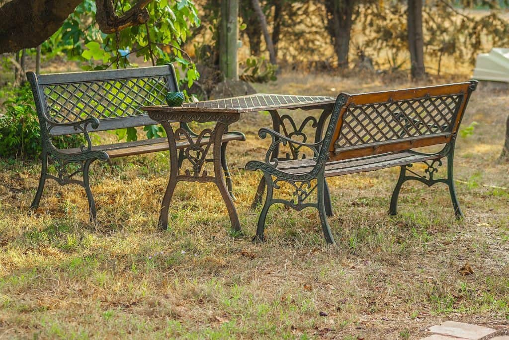 Iron furniture set in the garden