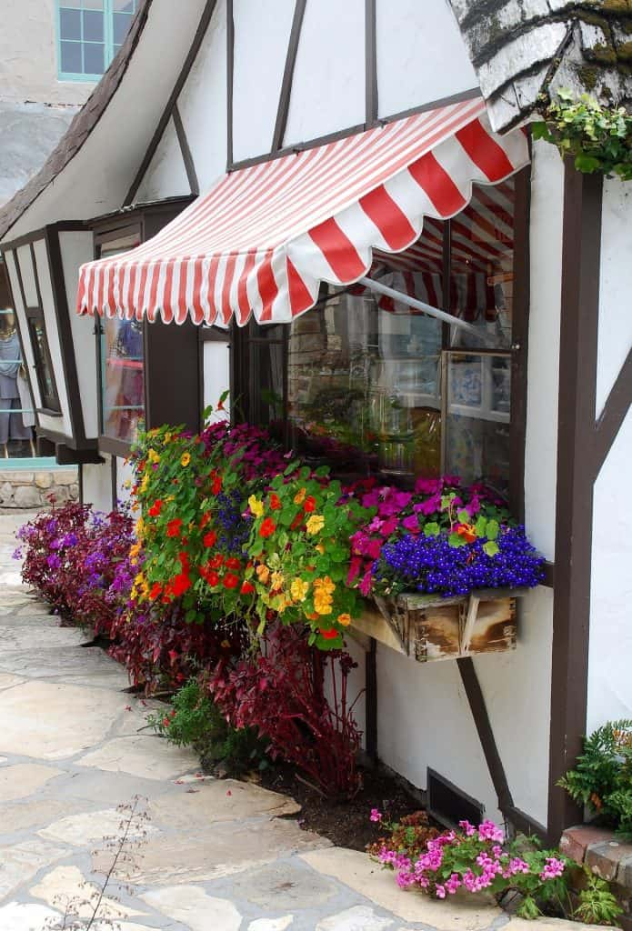 Red and white awnings fabric