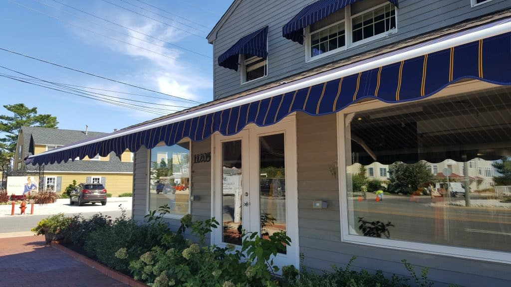Commercial establishment with awnings fabric