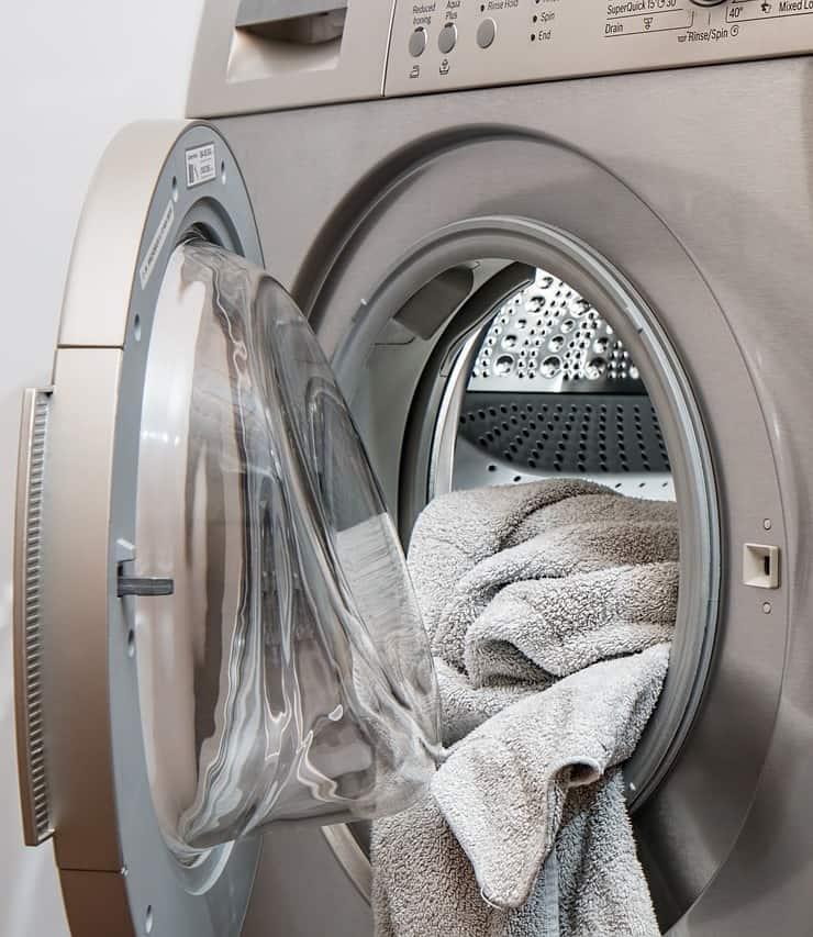 Washing machine being used