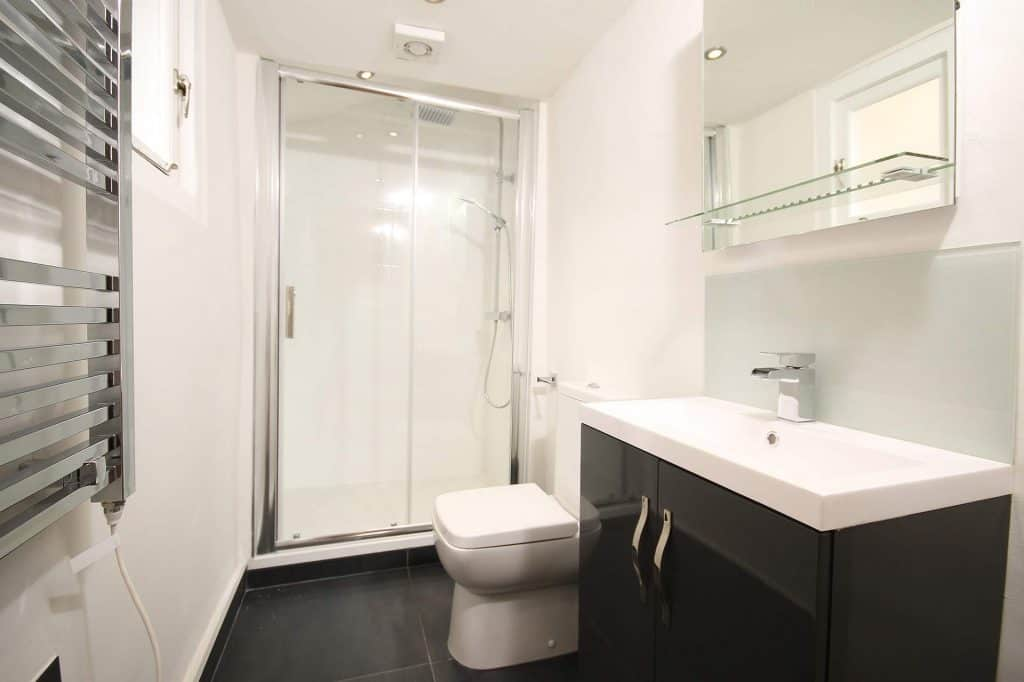 Bathroom with acrylic shower