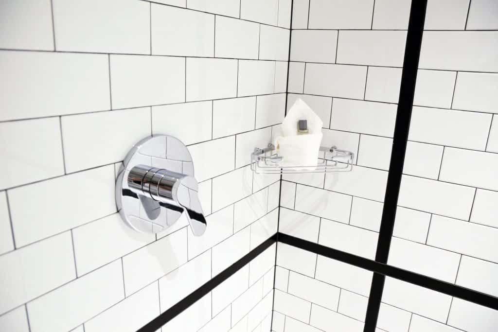 A clean bathroom tile walls