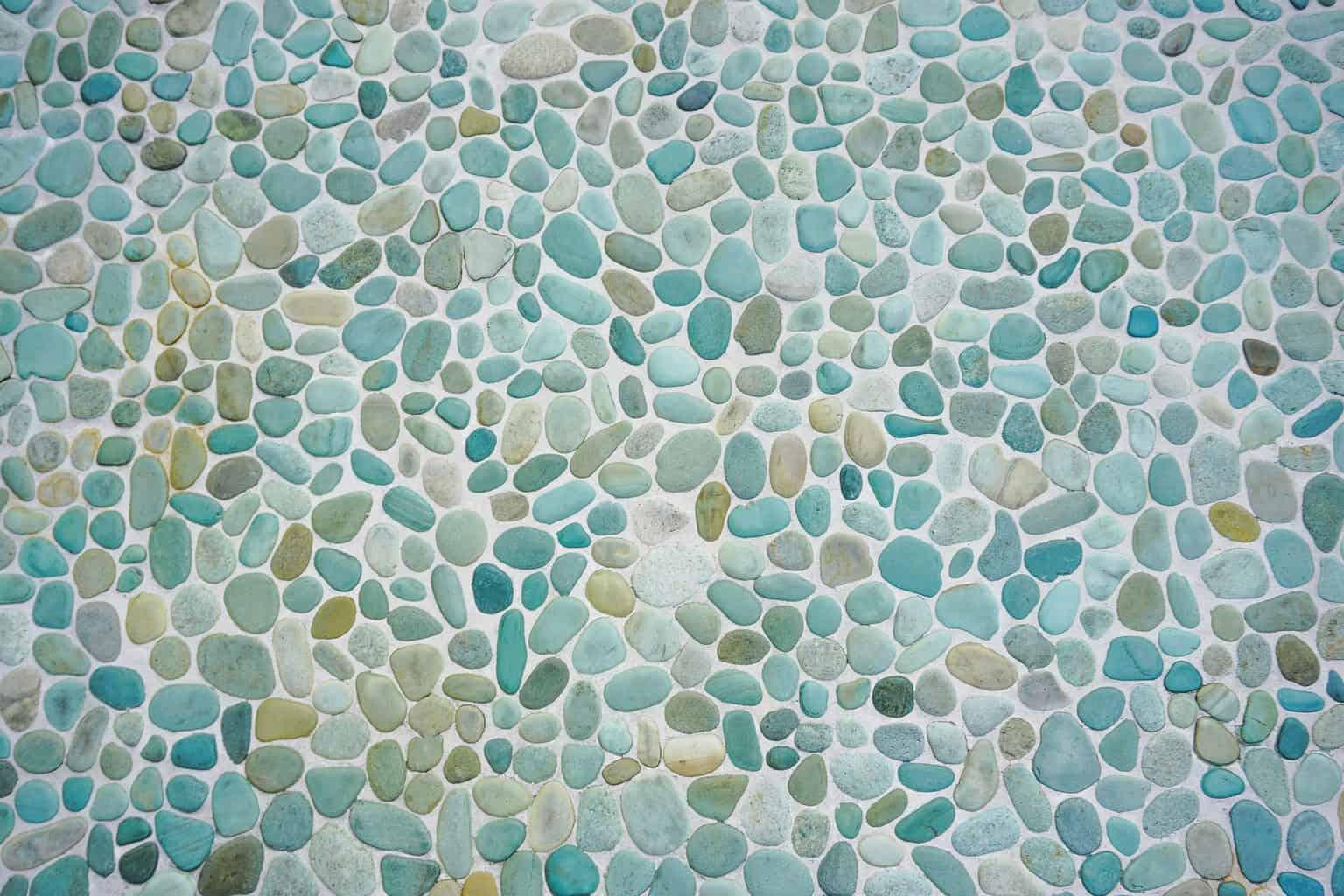 A blue toned pebble stone floor