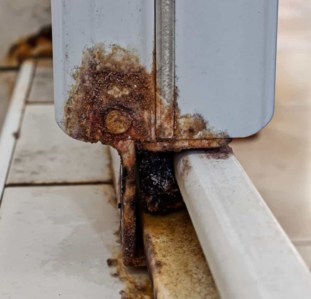 Rust on the shower sliding door track