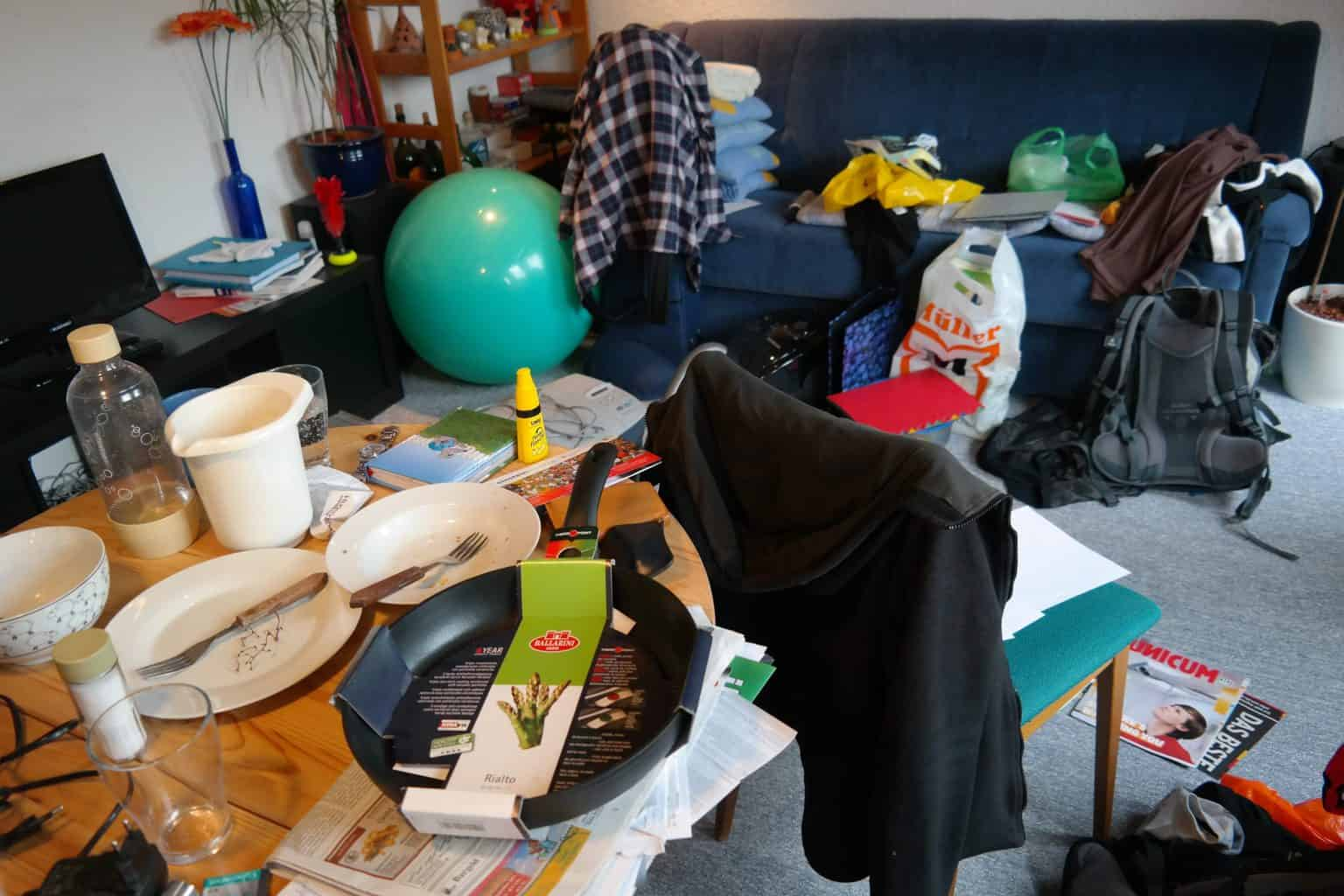 A messy room full of junk
