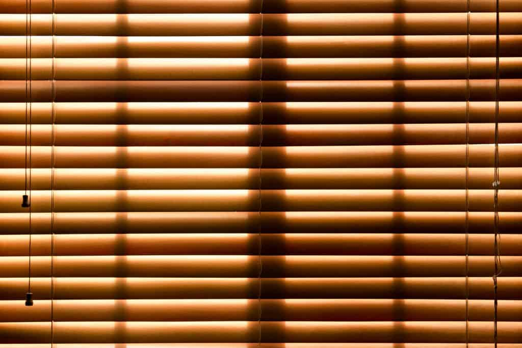 a brown closed bamboo blind