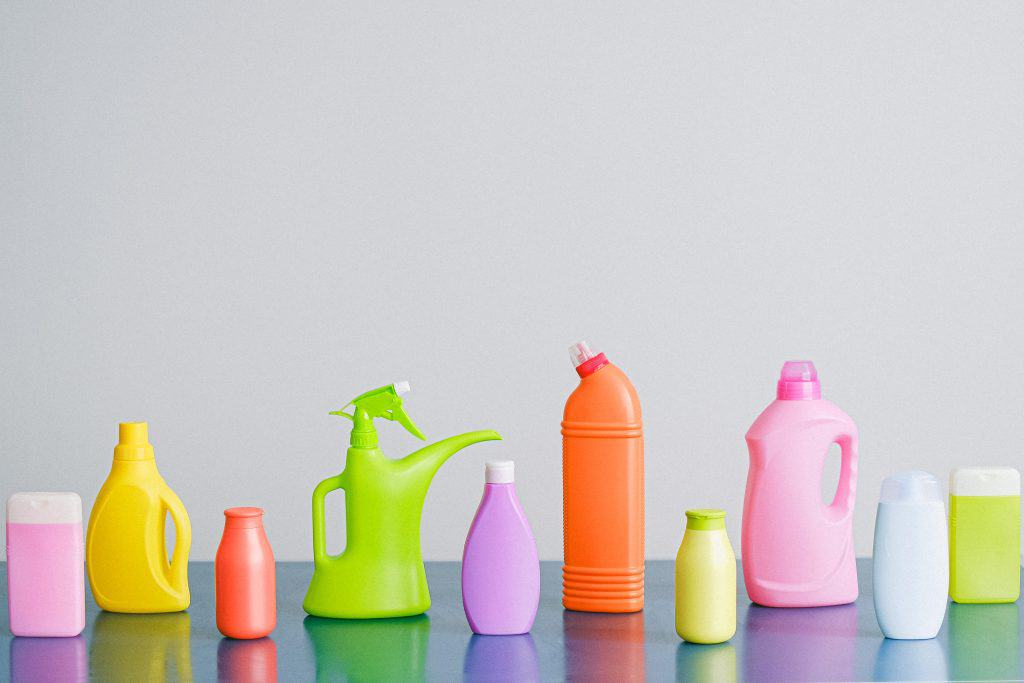 colorful pictures of different commercial cleaning bottles