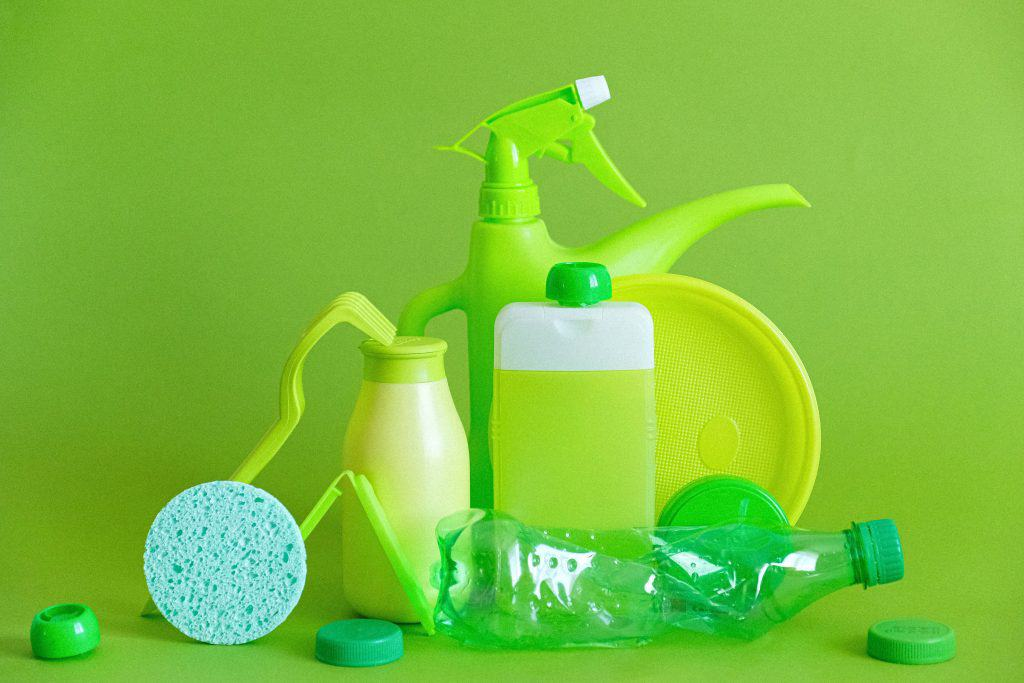 several green bottles for commercial cleaning