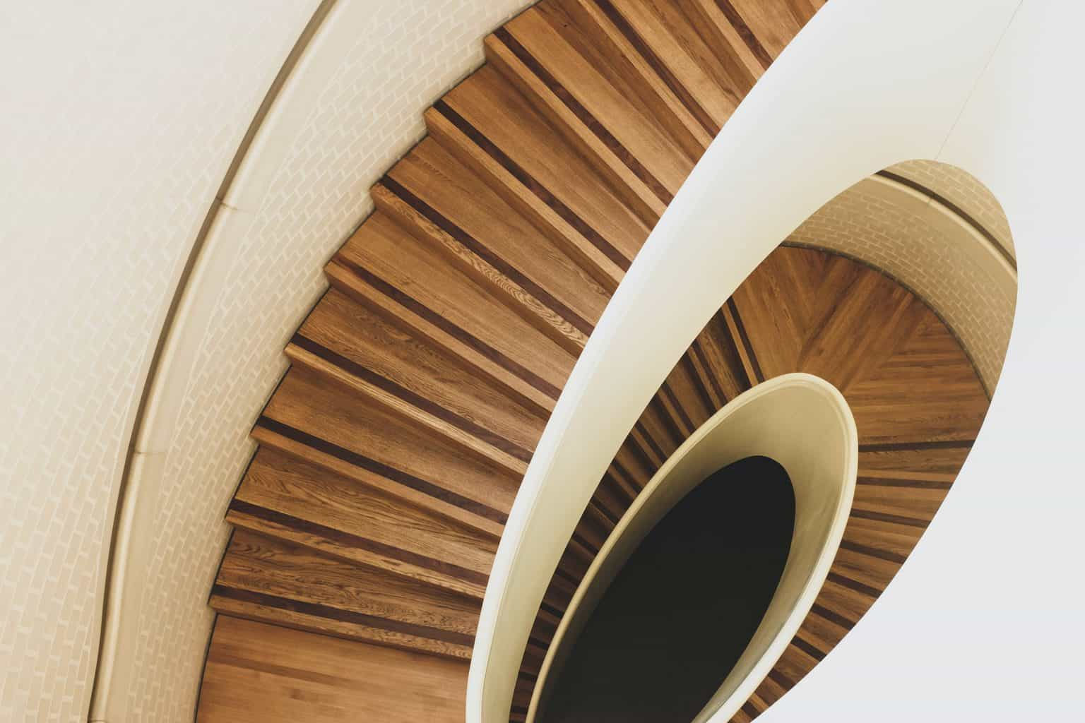 a wood spiral staircase