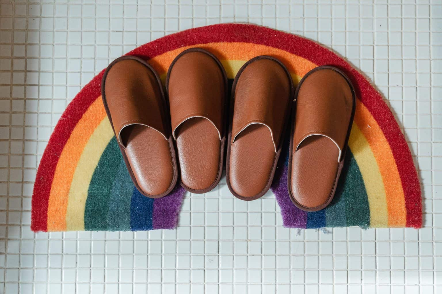 Brown slippers on a rainbow colored bath mat