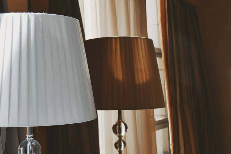 White and brown pleated lampshades