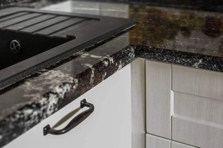 Close up of kitchen tile countertop