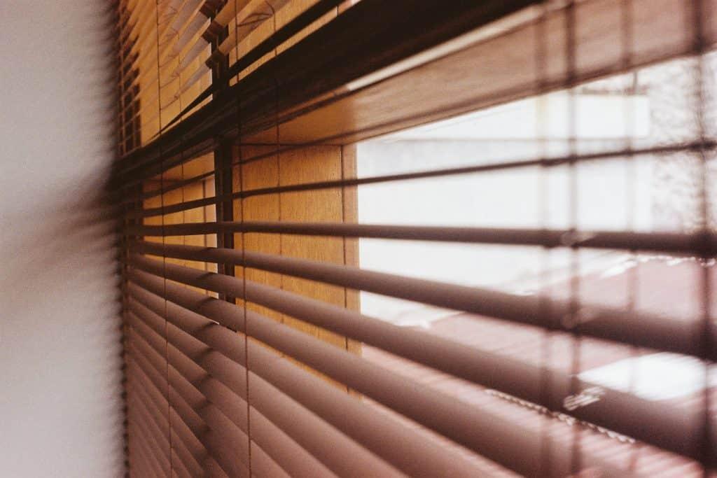 Close up shot of brown bamboo blinds