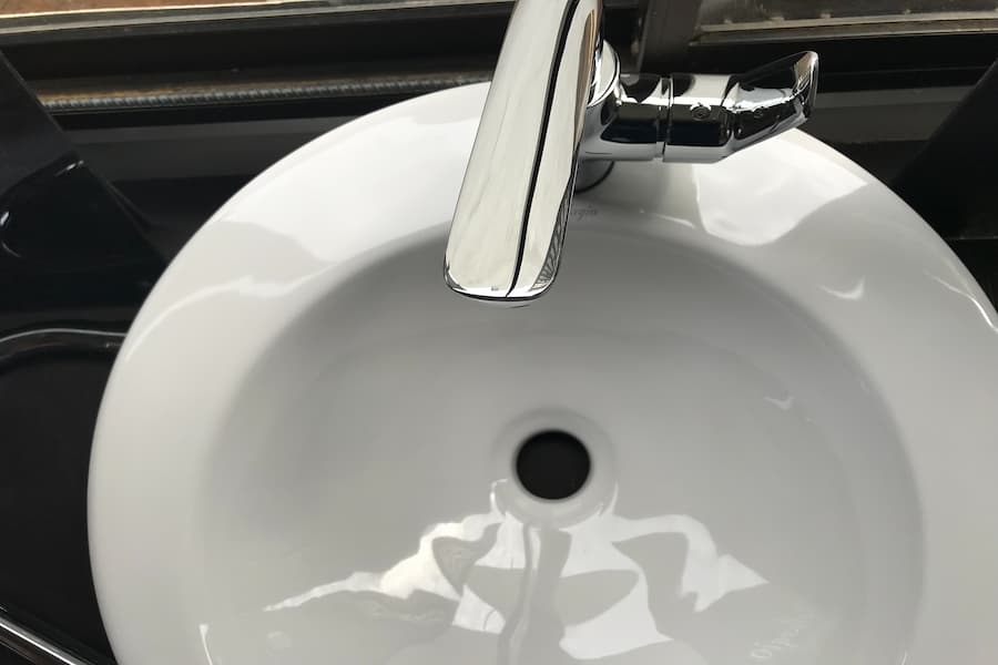 Top view of white acrylic sink