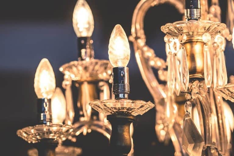 Close-Up shot of chandelier with light bulb